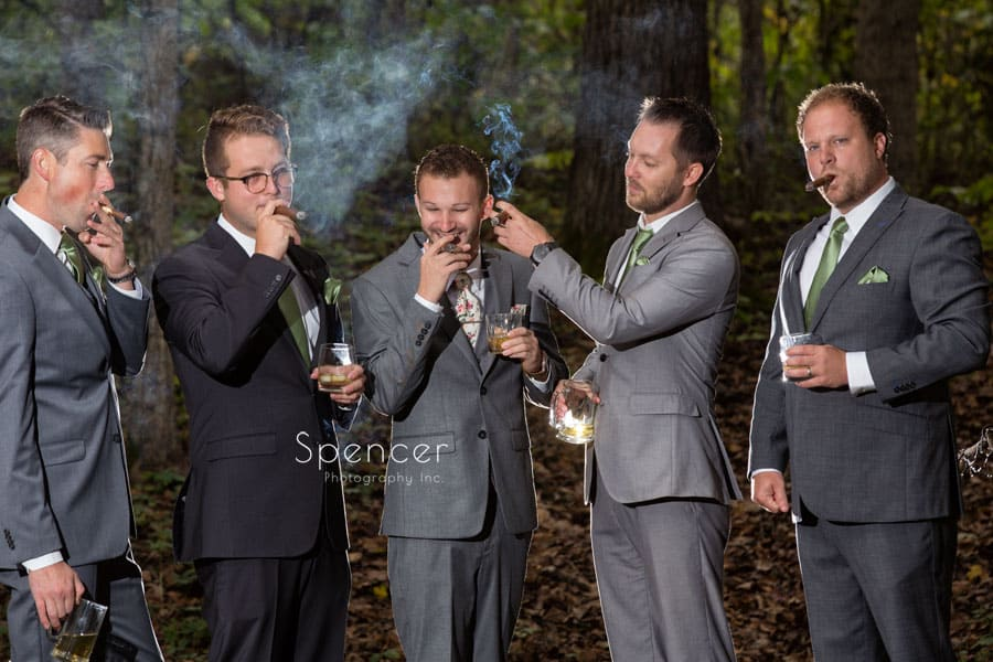 wedding day picture of groom with groomsmen