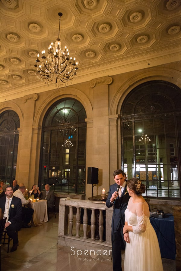 groom giving speech at wedding reception at ariel pearl cleveland