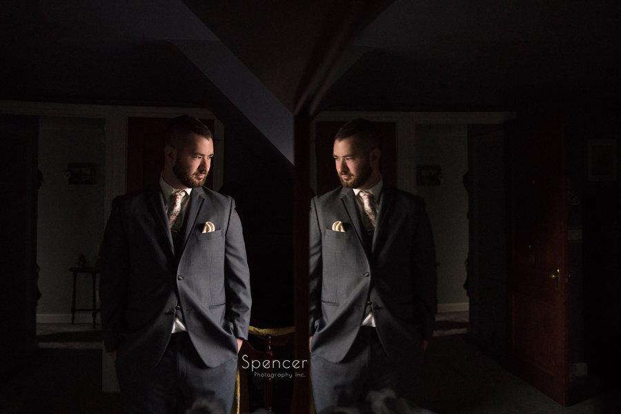 wedding day portrait of groom