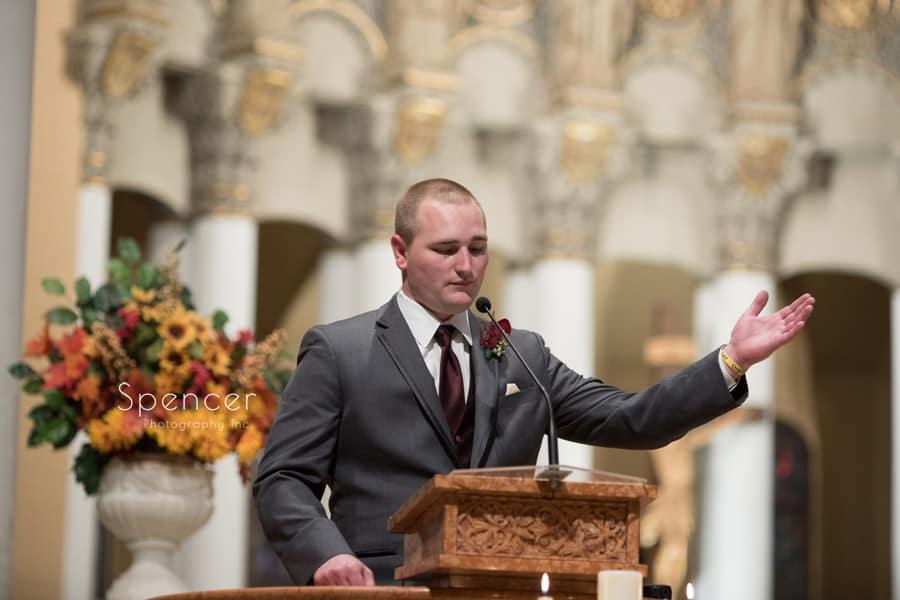 best man speaking at wedding ceremony