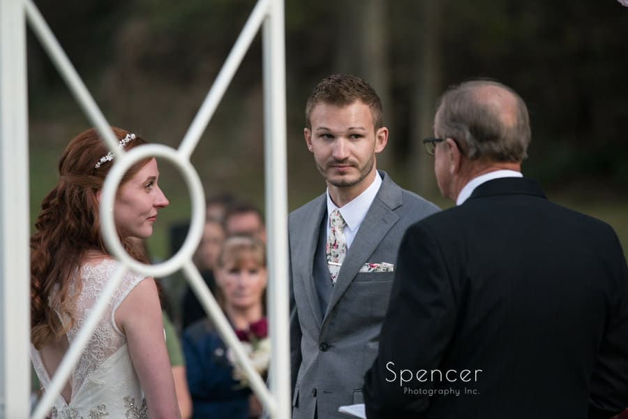 bride and groom at outdoor wedding ceremony