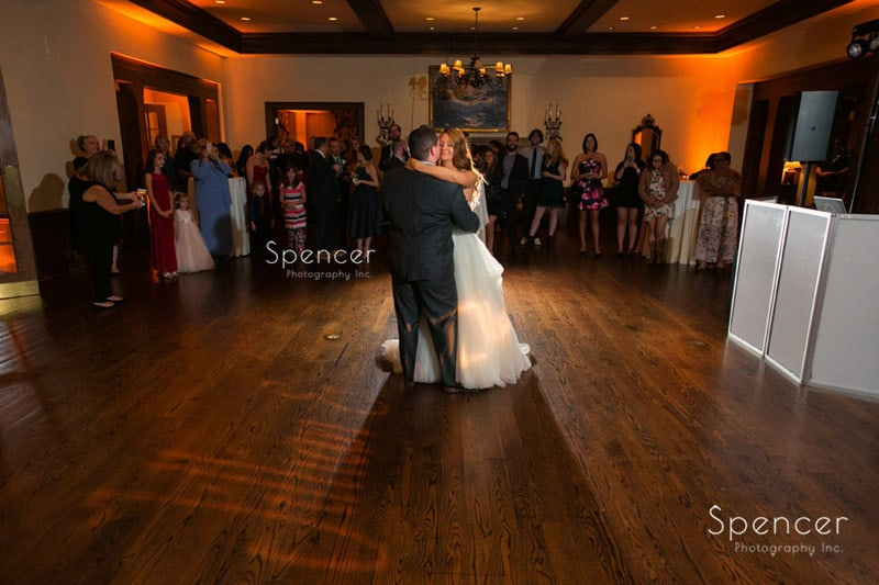 bride and groom during first dance at Portage Country Club