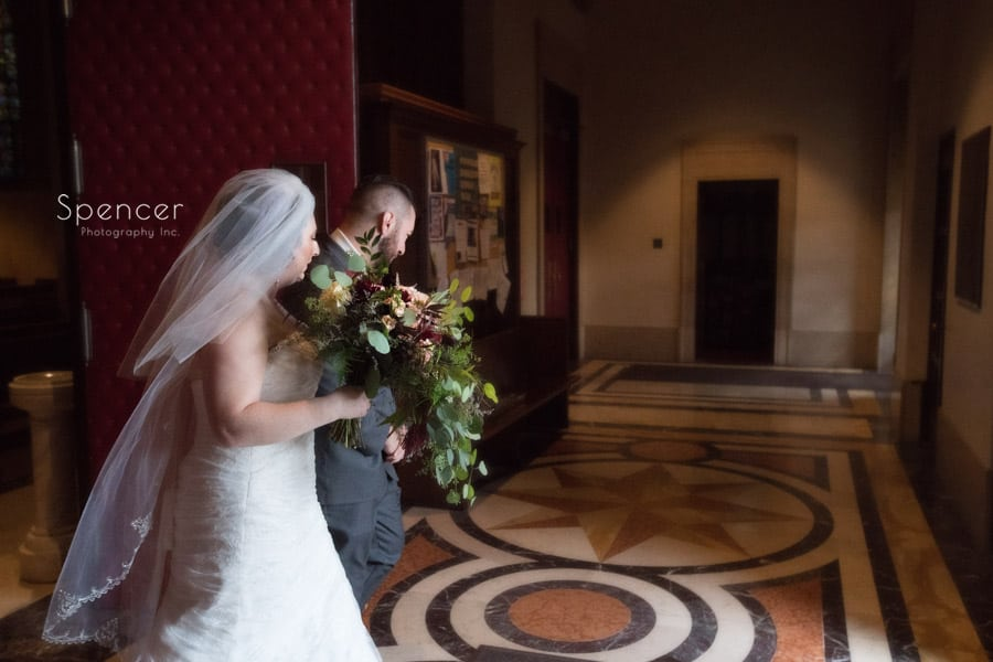 bride and groom exit ceremony at st joseph roman catholic church
