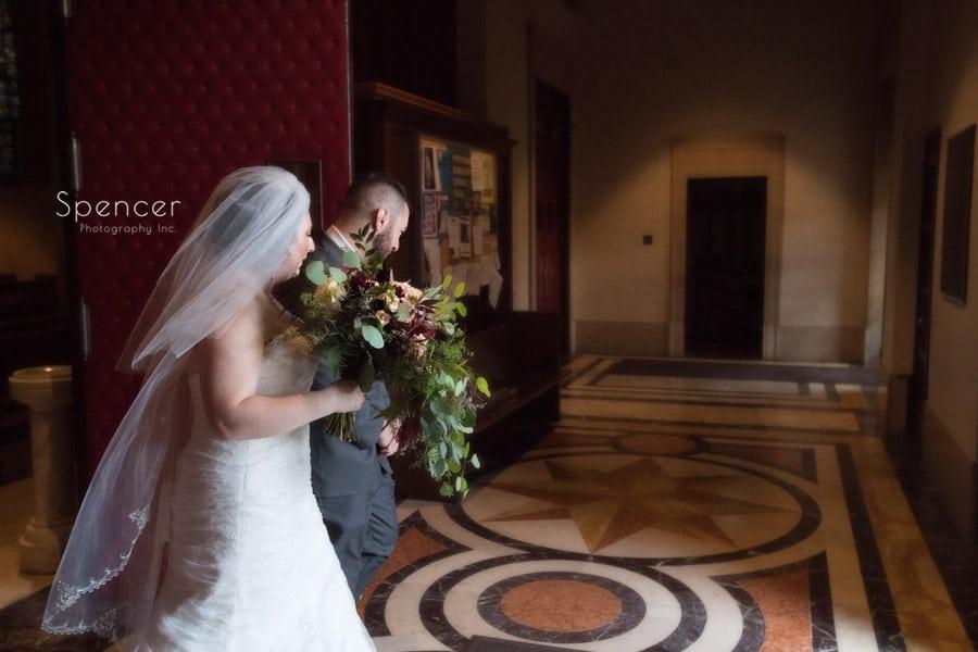 bride and groom exit ceremony at st joseph roman catholic church