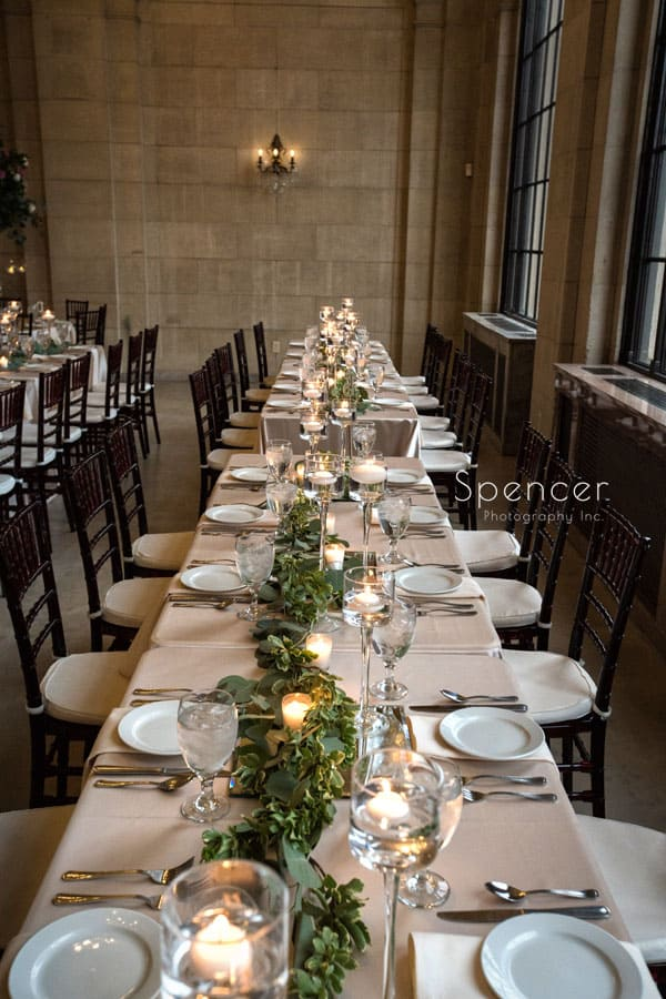 table setting at wedding reception at ariel pearl