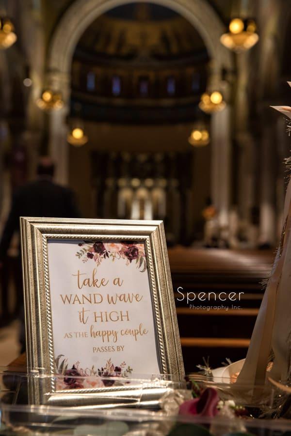 wedding detail sign at St. Joseph Church