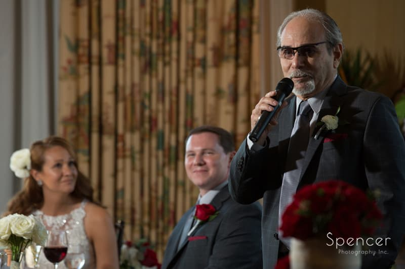 father of bride giving speech at portage country club