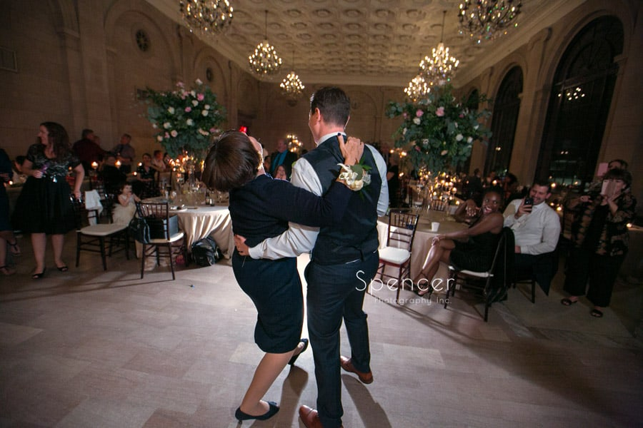 groom dancing with mom at ariel pearl wedding reception