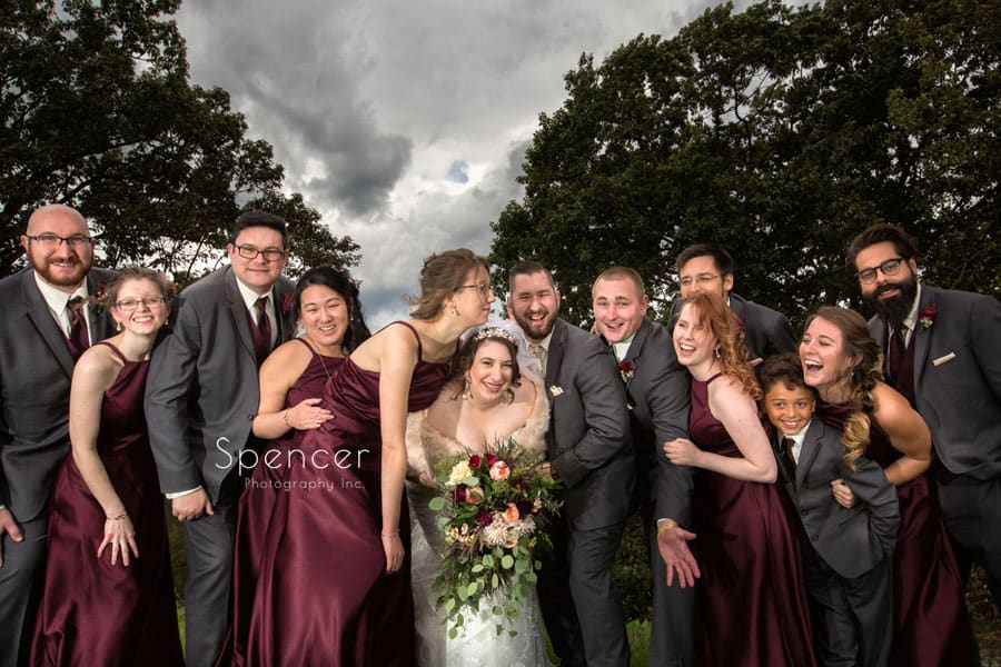 bridal party at shady hollow country club reception