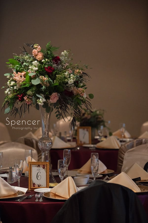 reception centerpiece at shady hollow country club