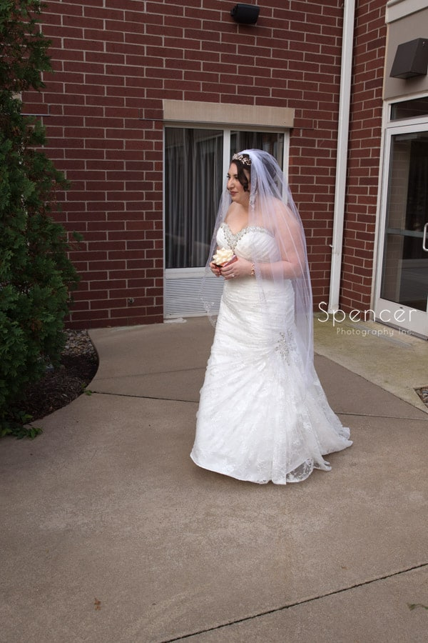 bride walking to meet groom for first time on wedding day
