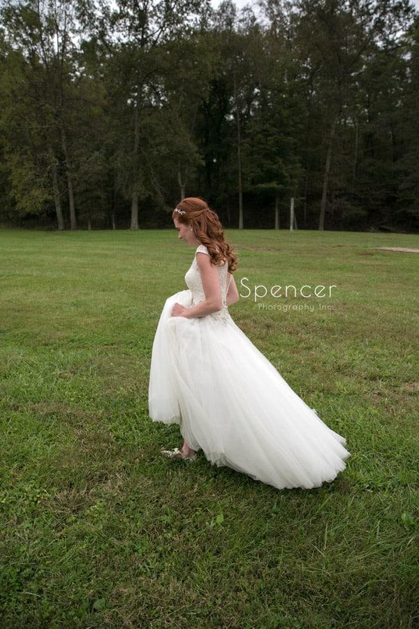 bride walking to see groom on wedding day
