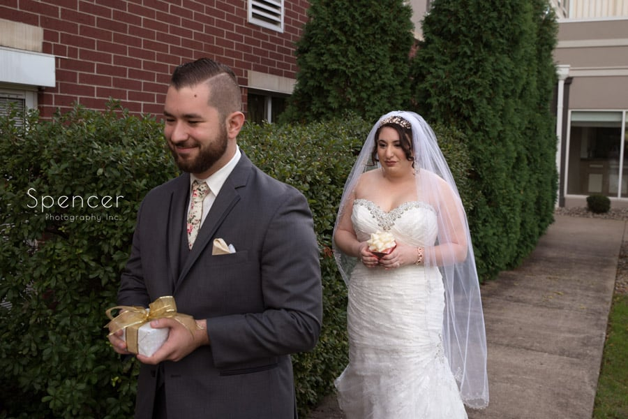 wedding day first look in Canton