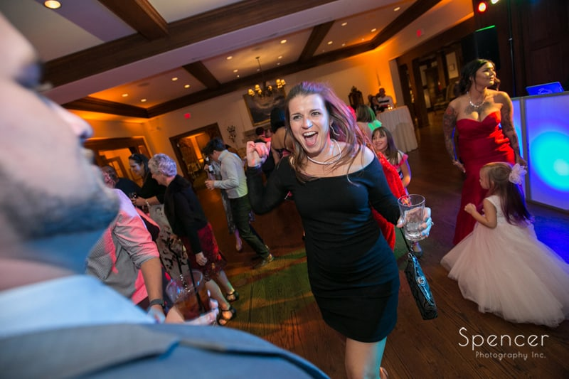 wedding reception guest having fun at portage country club