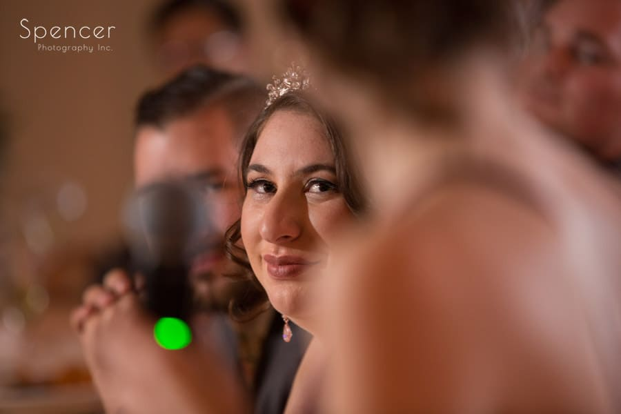 bride listening to speech at shady hollow country club