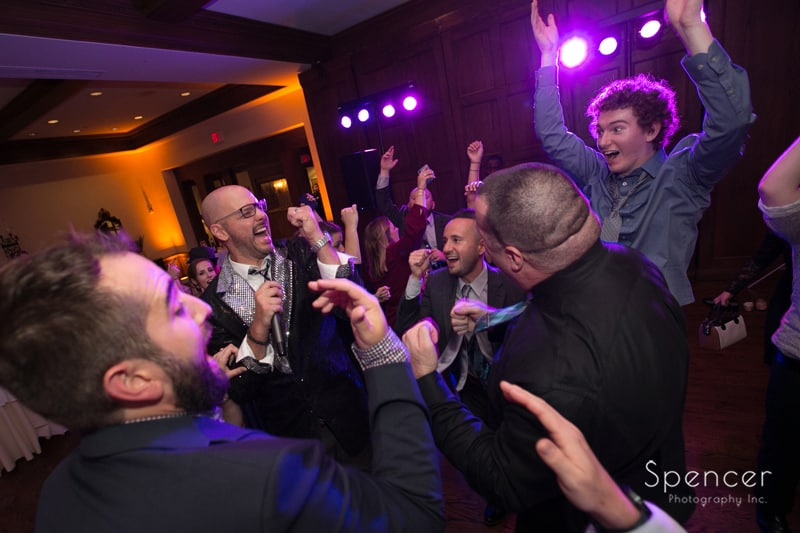 wedding guests having fun at portage country club reception