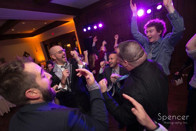 wedding guests having fun at portage country club reception