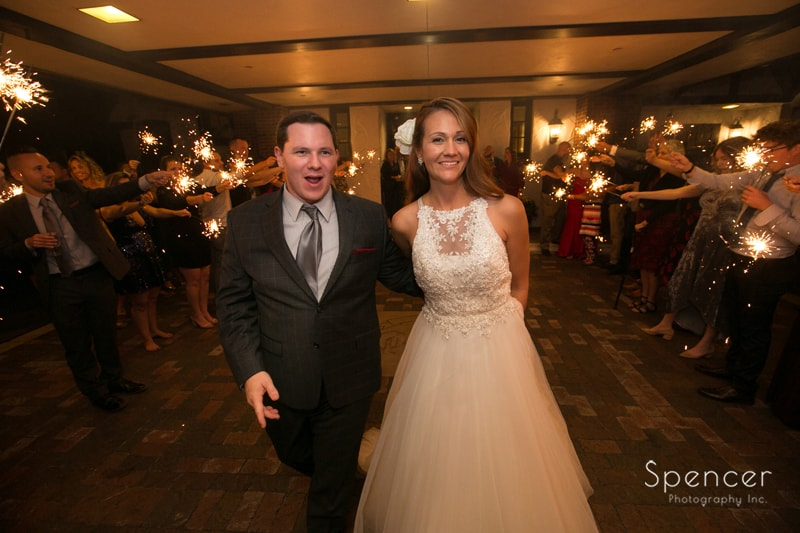 sparkler exit at wedding reception at portage country club akron