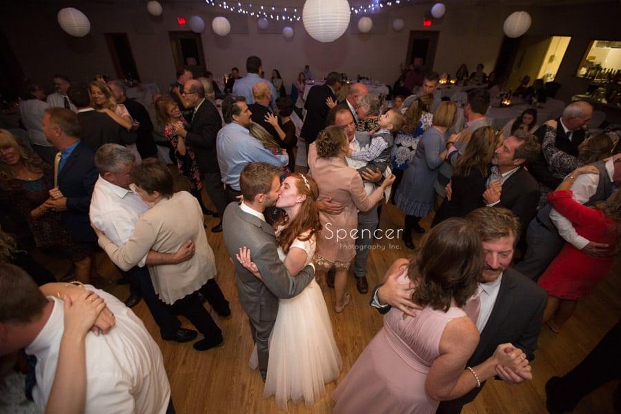 wide shot of wedding reception