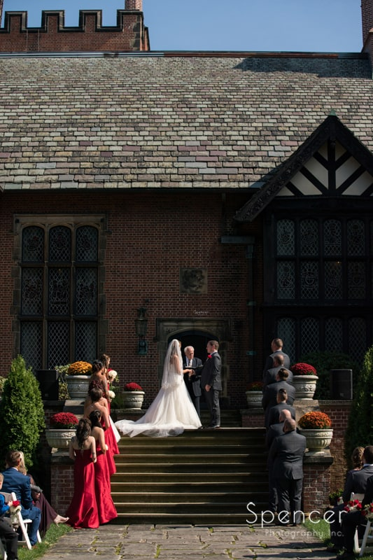 wedding party at wedding ceremony at stan hywet
