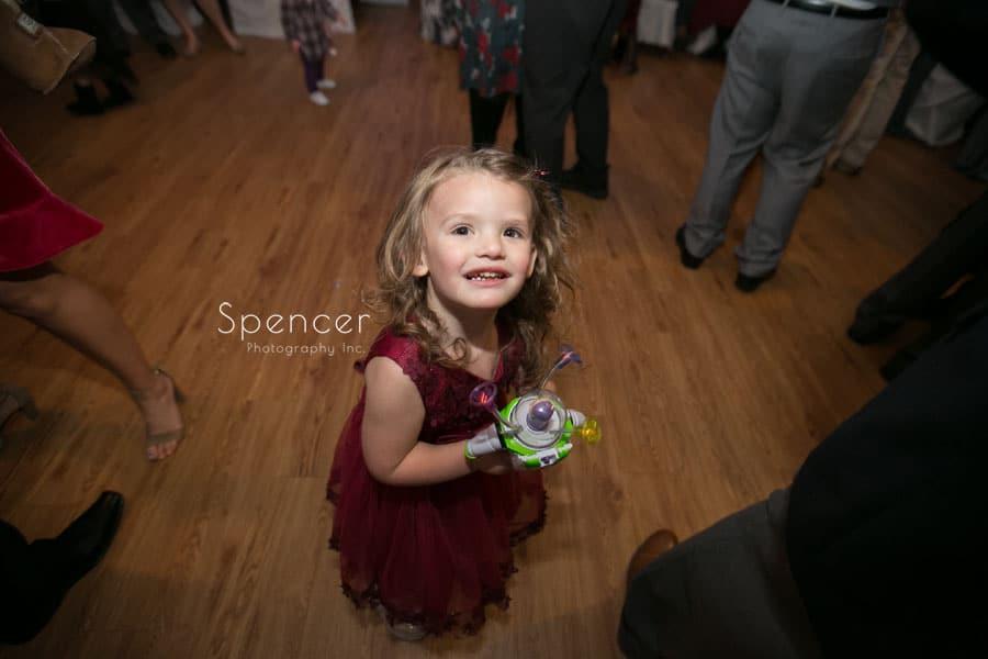 flower girl at wedding reception