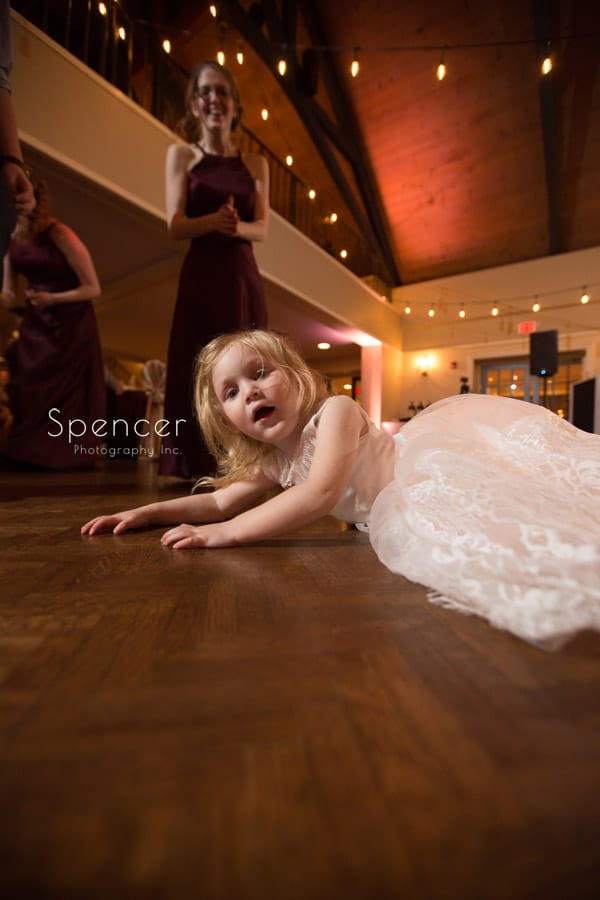 flower girl at wedding reception at shady hollow country club