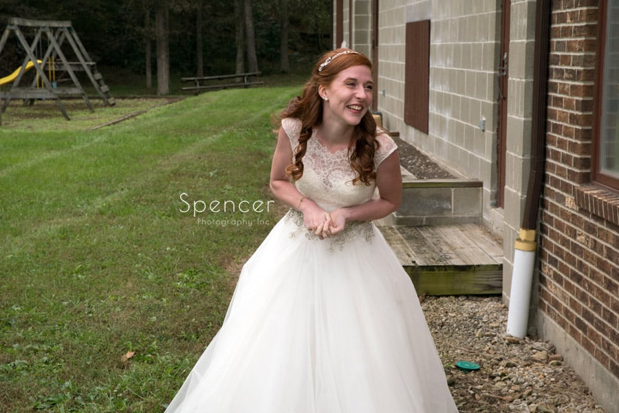bride greets dad on wedding day