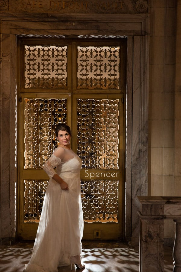 wedding picture of bride at ariel pearl cleveland
