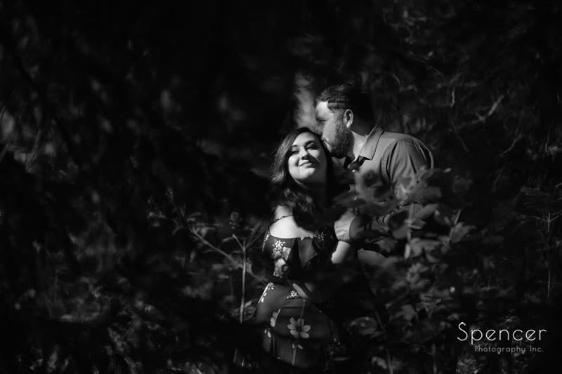 brandywine falls black and white fall engagement picture