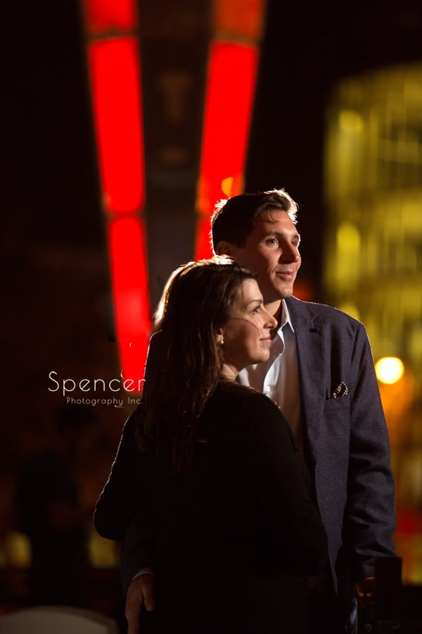 couple posing on east fourth cleveland during engagement pictures