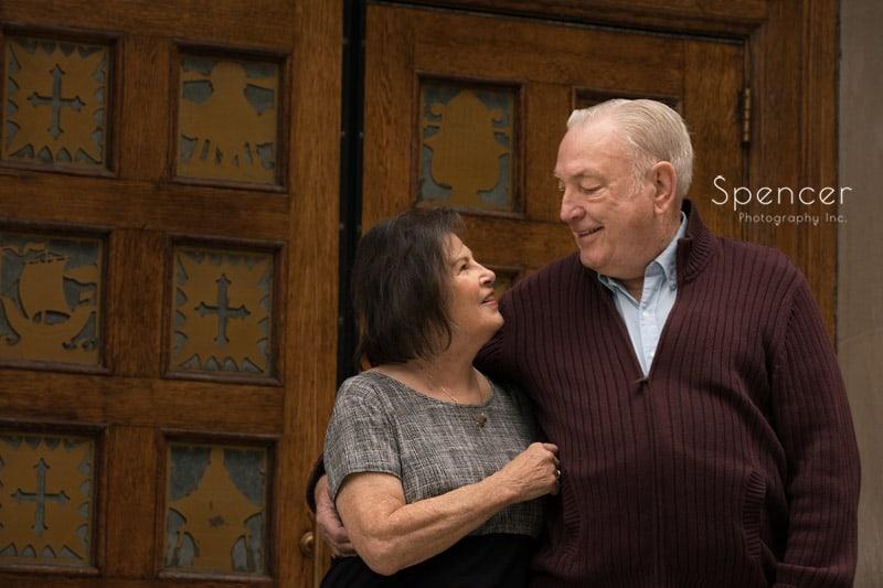 elderly couple celebrating their engagement