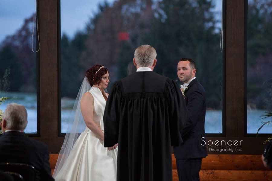 bride and groom at their wedding ceremony at lodge at firestone