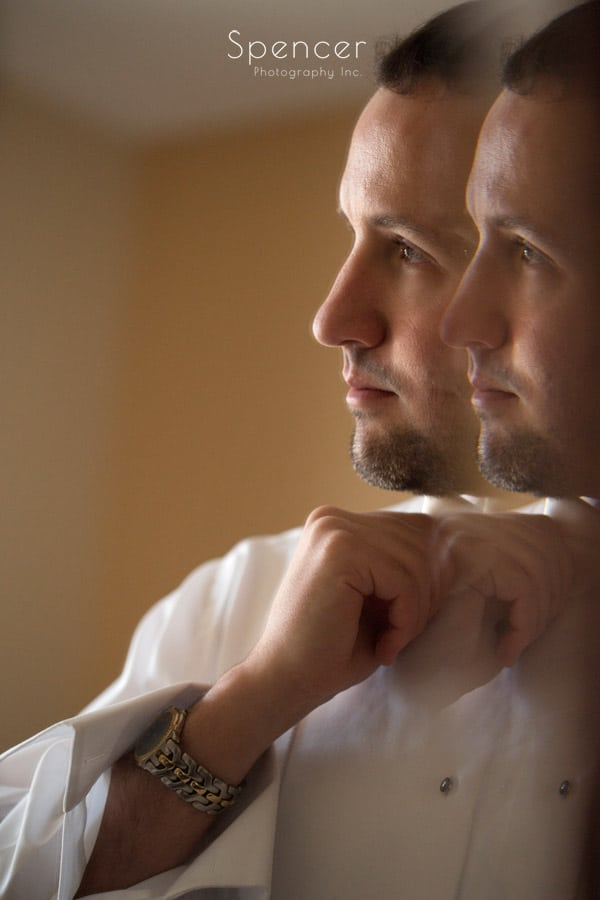 reflection wedding picture of groom