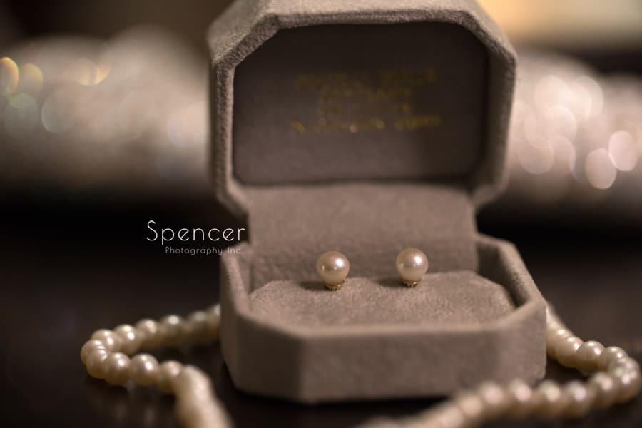 brides wedding pearl earrings at Firestone wedding