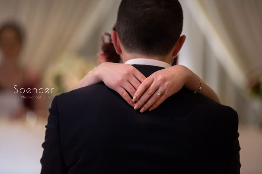 close up of brides hands during first dance at firestone