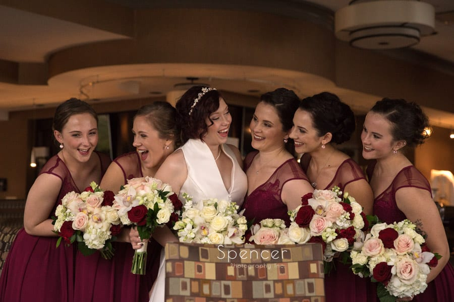 group picture of bridesmaids at firestone wedding