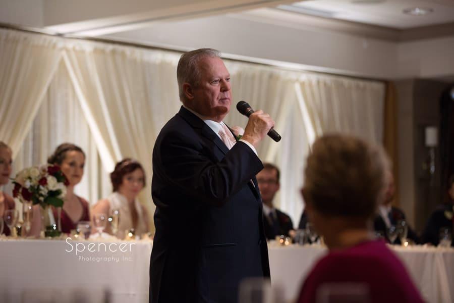 brides father giving reception speech