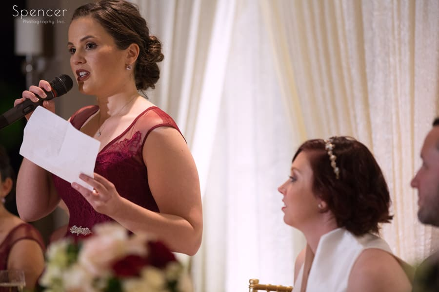 maid of honor giving speech at firestone