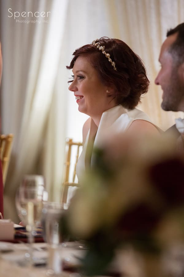 bride smiling during reception at firestone