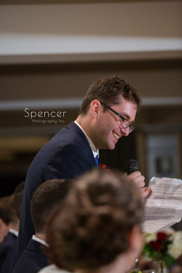 best man giving reception speech at firestone