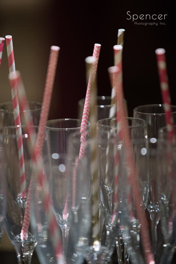 champagne glasses with straws in Firestone locker roon
