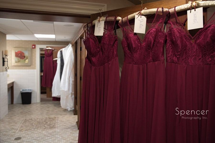 wedding dresses in locker room at firestone
