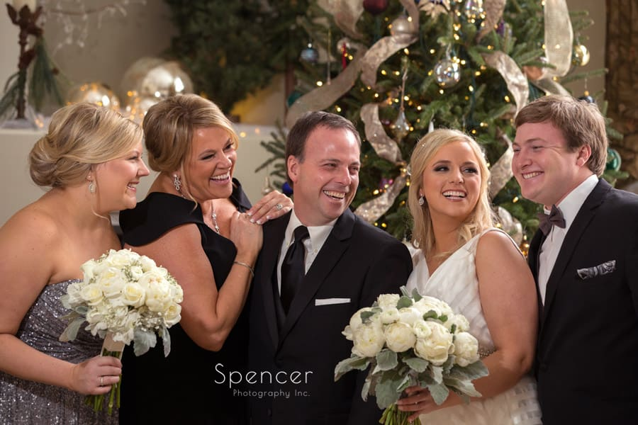 family laughing in cleveland wedding at christmas
