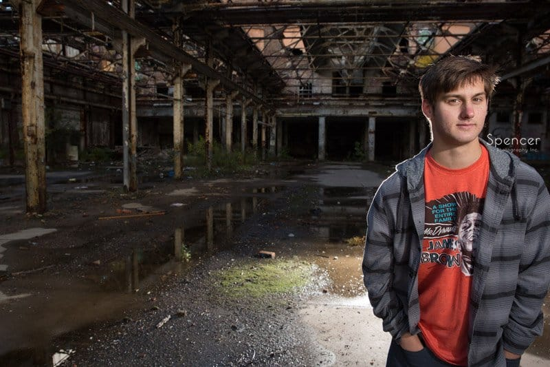 senior portrait in old warehouse in downtown Cleveland
