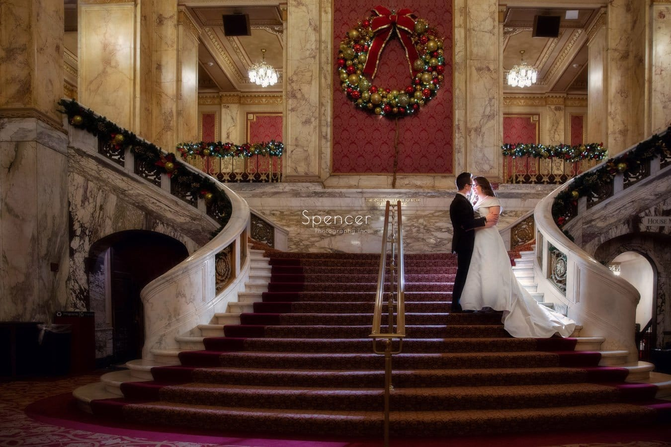 christmas wedding picture at playhouse square cleveland
