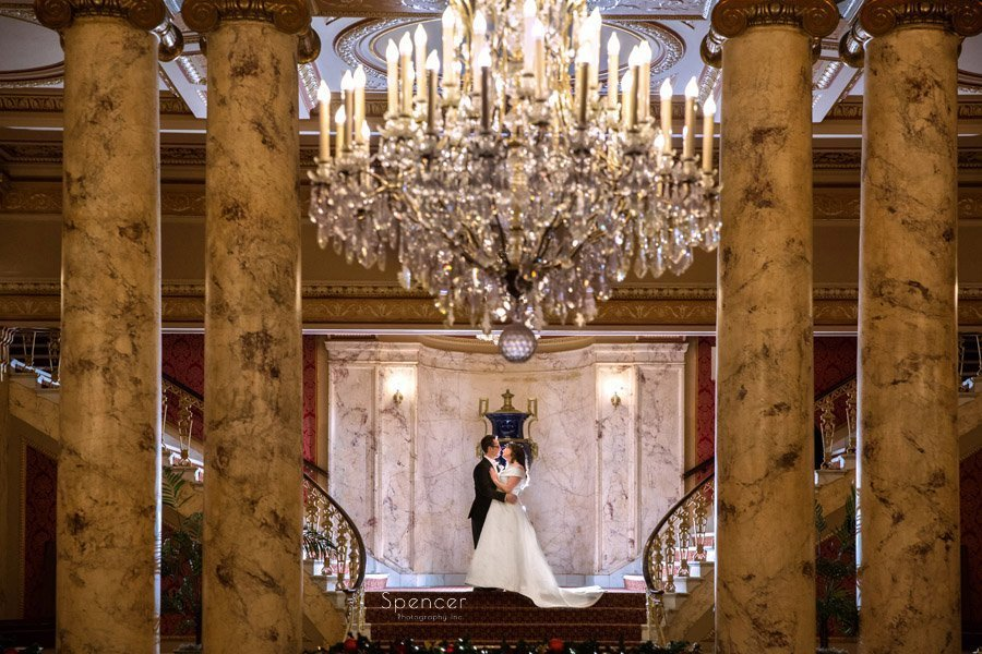 christmas wedding picture at playhouse square