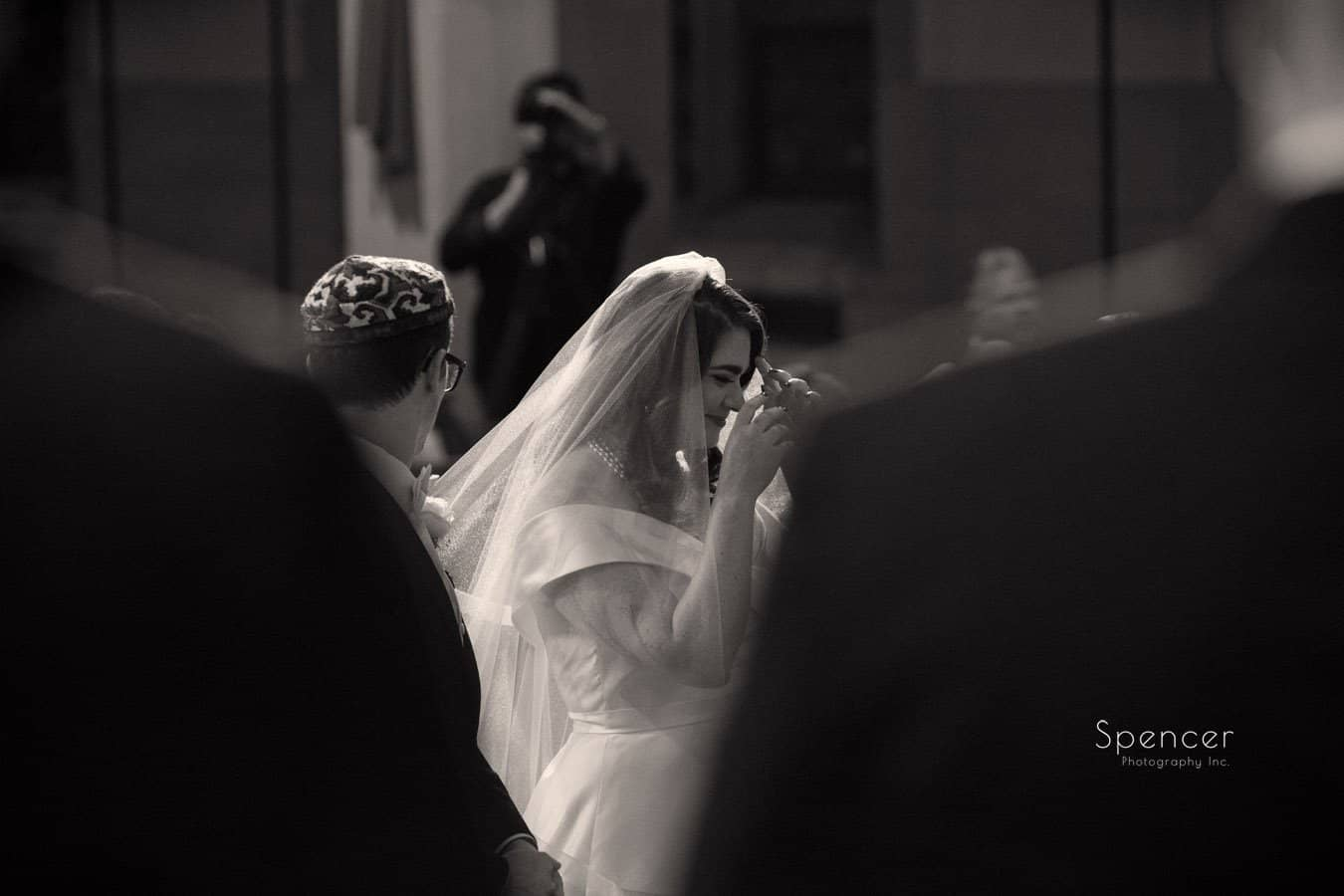 bride at her wedding ceremony at first baptist church