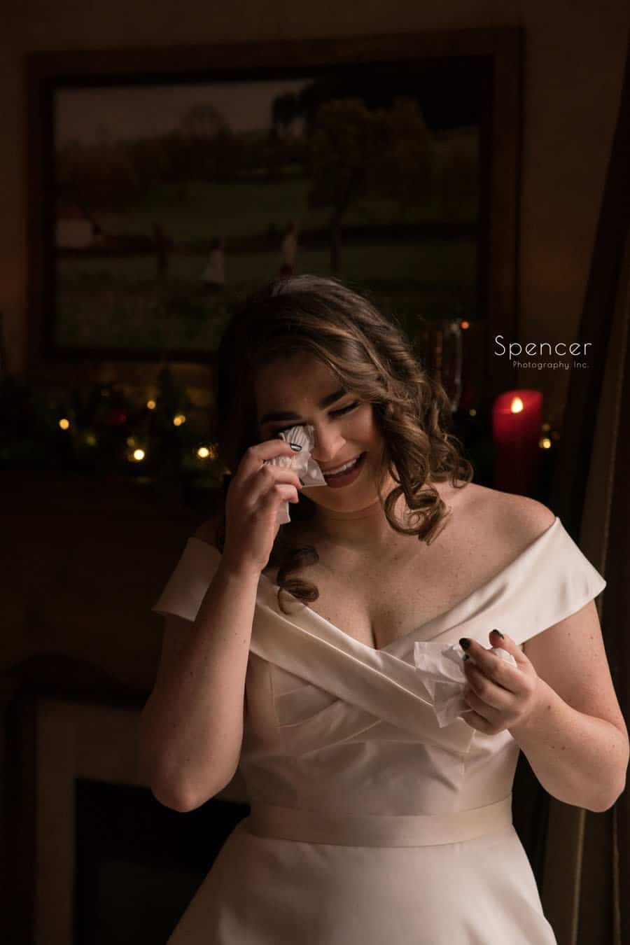 bride getting emotional on her wedding day