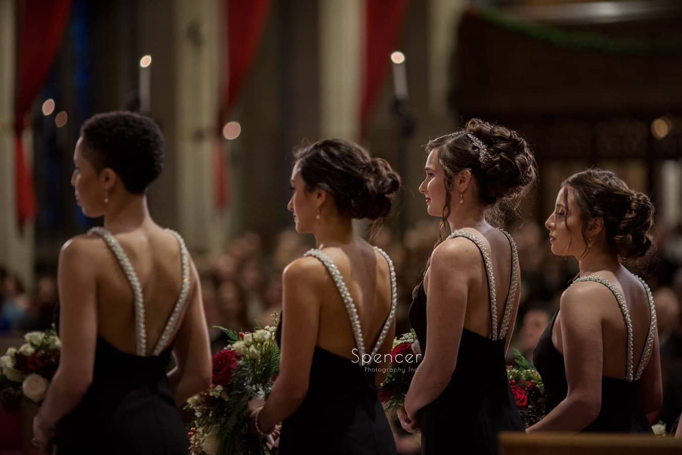 bridesmaids during christmas wedding at cleveland first baptist church