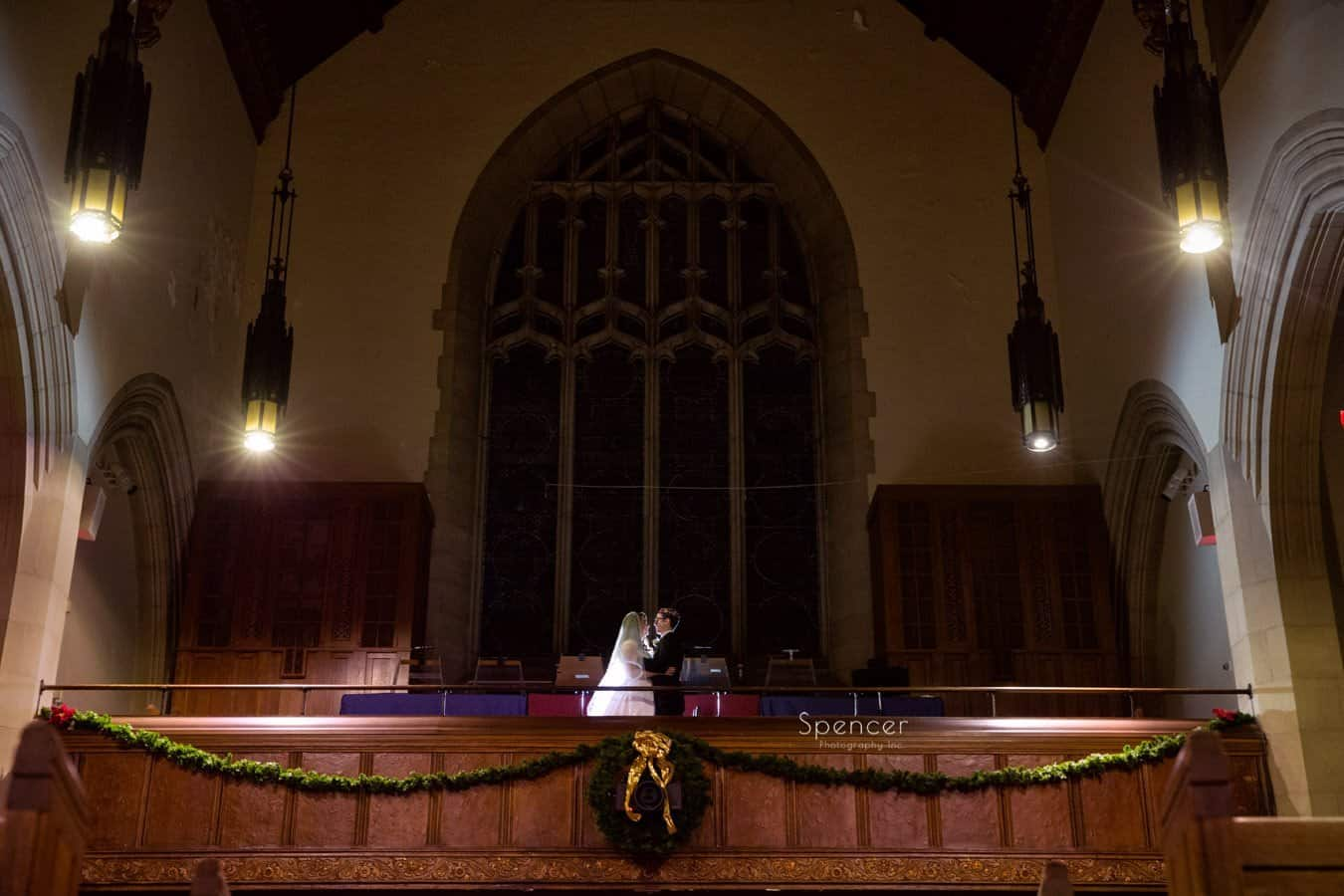 dramatic christmas wedding picture